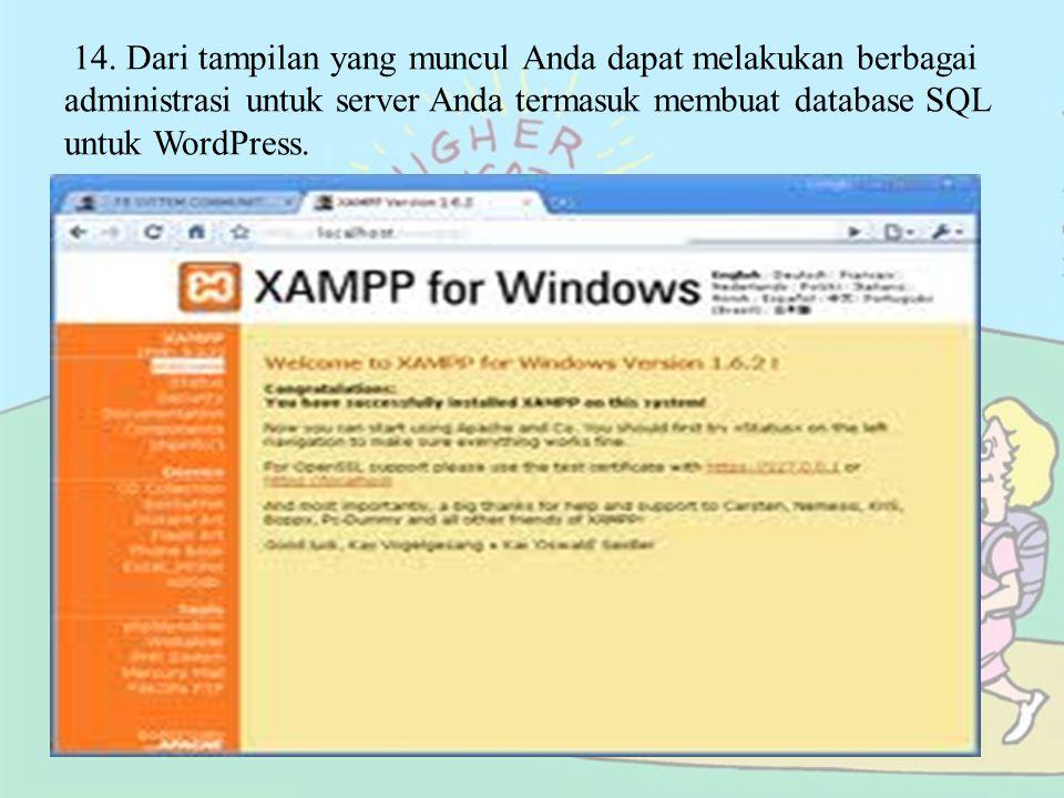 Setelah installer XAMPP siap, kita jalankan installer XAMPP atau extract installer tersebut ke salah satu drive komputer kita, misalnya c:\xampp.