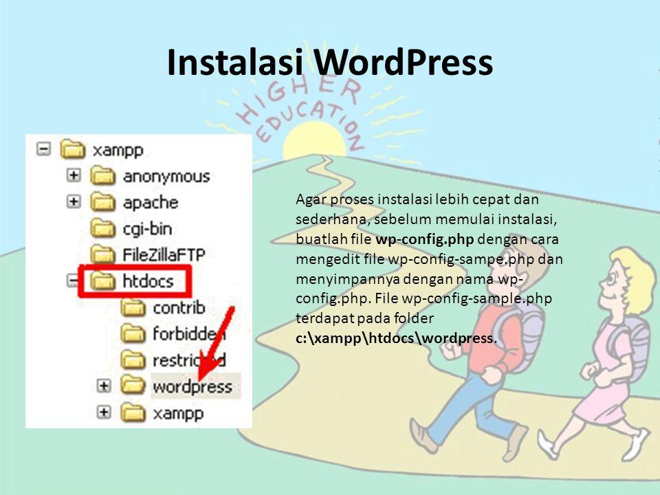 Bukalah file tersebut menggunakan notepad, gantilah informasi database berikut ini: // ** MySQL settings – You can get this info from your web host ** // /** The name of the database for WordPress */ define('DB_NAME', 'putyourdbnamehere'); /** MySQL database username */ define('DB_USER', 'usernamehere'); /** MySQL database password */ define('DB_PASSWORD', 'yourpasswordhere'); /** MySQL hostname */ define('DB_HOST', 'localhost');