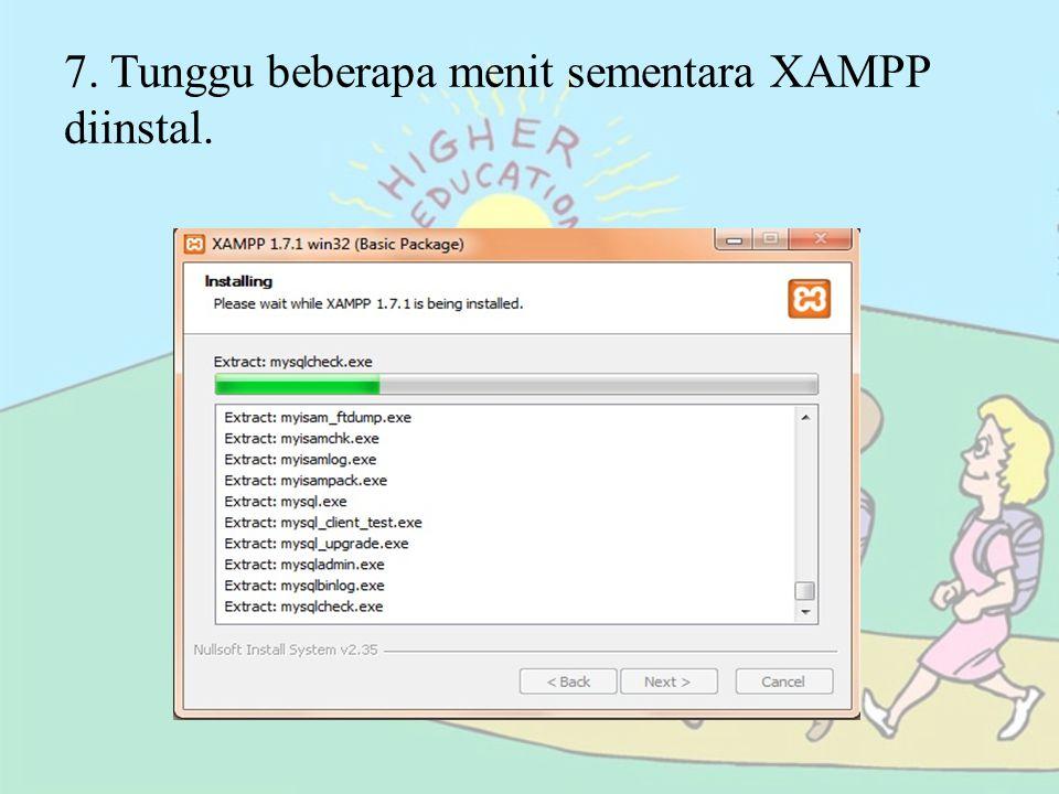 8. Klik [Finish] setelah XAMPP selesai diinstal.