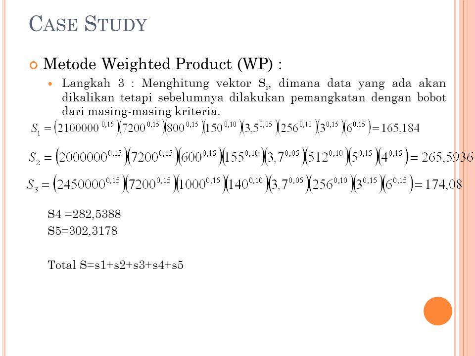 C ASE S TUDY Metode Weighted Product (WP) : Langkah 3 : Menghitung vektor S i, dimana data yang ada akan dikalikan tetapi sebelumnya dilakukan pemangk