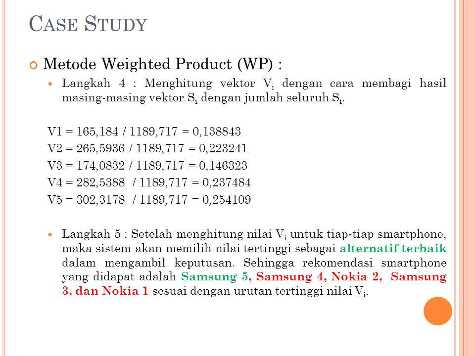 C ASE S TUDY Metode Weighted Product (WP) : Langkah 4 : Menghitung vektor V i dengan cara membagi hasil masing-masing vektor S i dengan jumlah seluruh