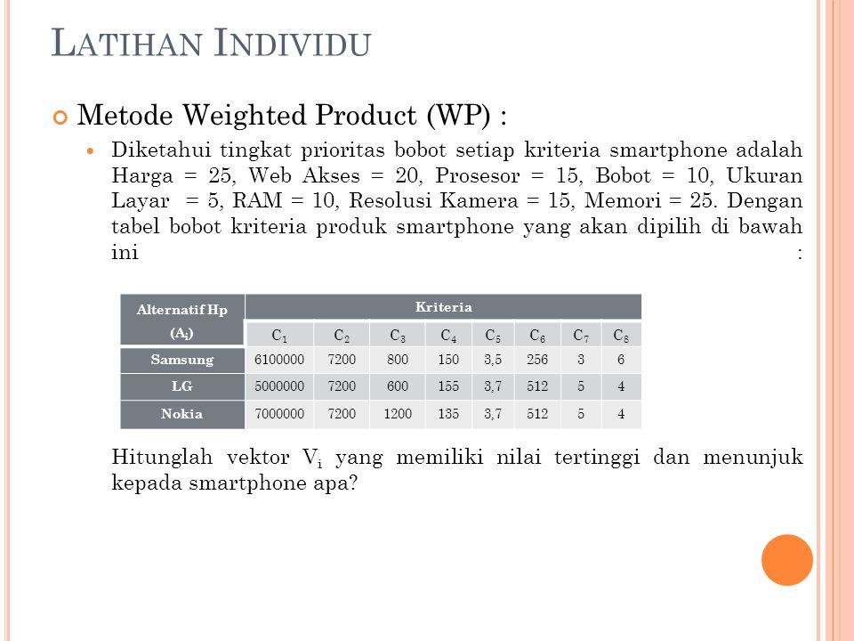 L ATIHAN I NDIVIDU Metode Weighted Product (WP) : Diketahui tingkat prioritas bobot setiap kriteria smartphone adalah Harga = 25, Web Akses = 20, Pros