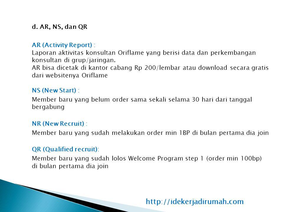 d. AR, NS, dan QR AR (Activity Report) : Laporan aktivitas konsultan Oriflame yang berisi data dan perkembangan konsultan di grup/jaringan. AR bisa di