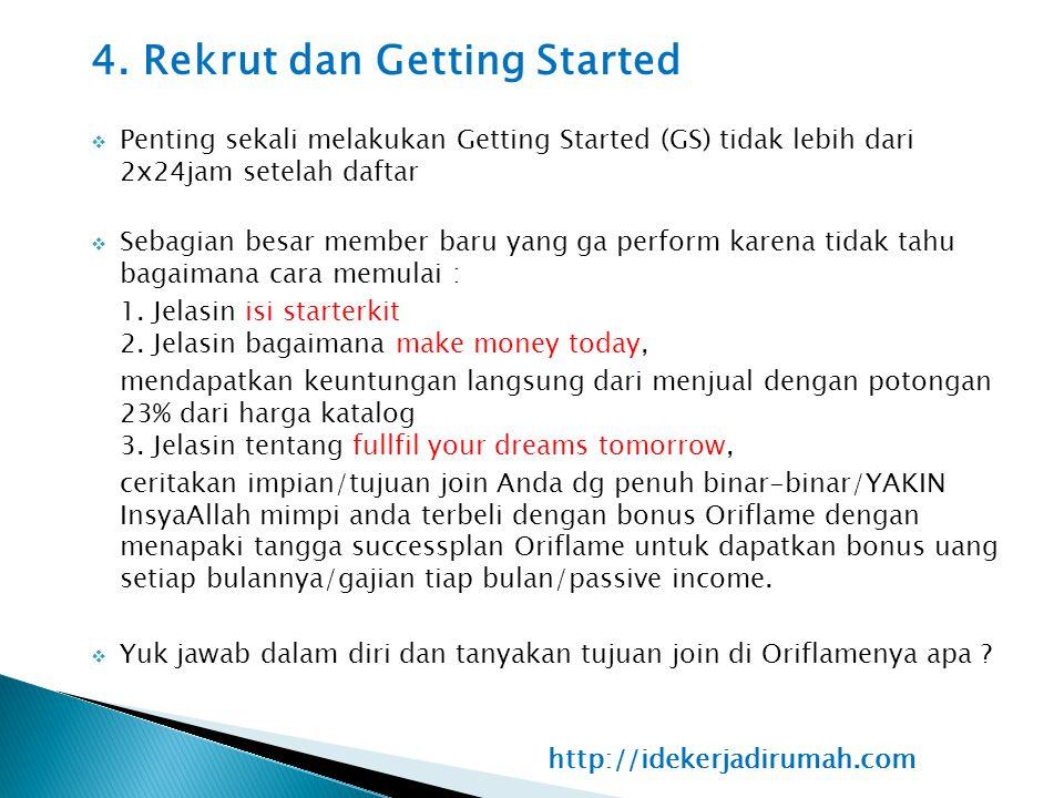 4. Rekrut dan Getting Started  Penting sekali melakukan Getting Started (GS) tidak lebih dari 2x24jam setelah daftar  Sebagian besar member baru yan