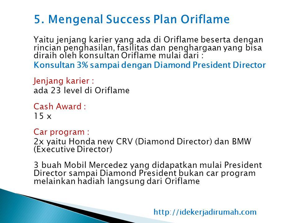 5. Mengenal Success Plan Oriflame Yaitu jenjang karier yang ada di Oriflame beserta dengan rincian penghasilan, fasilitas dan penghargaan yang bisa di