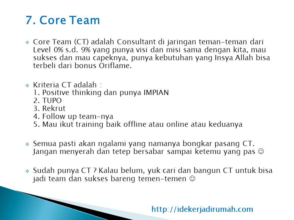 7. Core Team  Core Team (CT) adalah Consultant di jaringan teman-teman dari Level 0% s.d. 9% yang punya visi dan misi sama dengan kita, mau sukses da