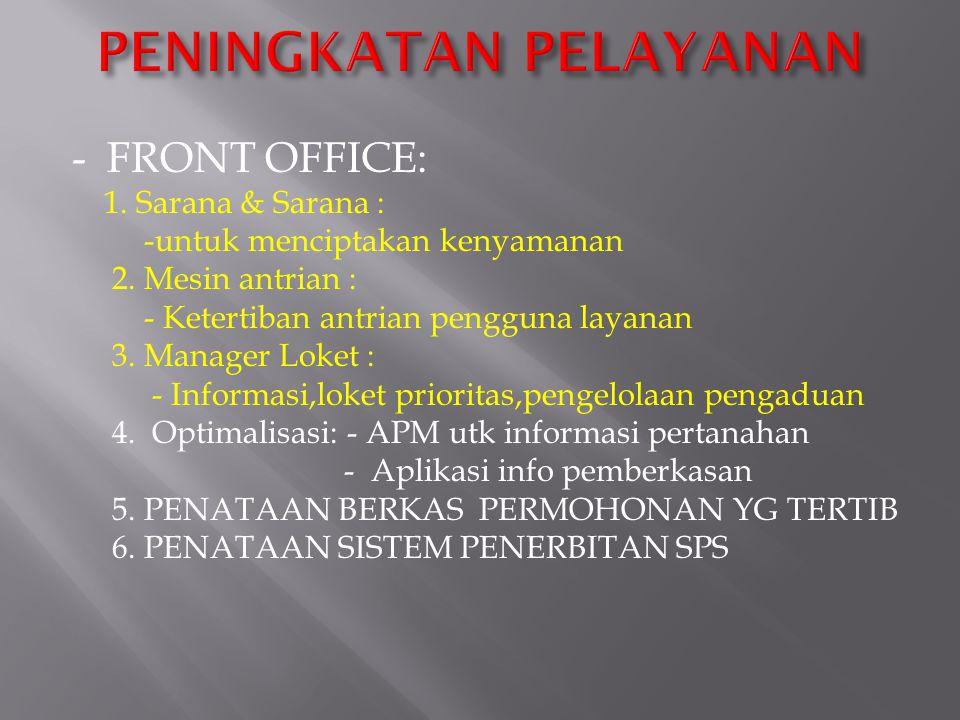 - FRONT OFFICE: 1. Sarana & Sarana : -untuk menciptakan kenyamanan 2. Mesin antrian : - Ketertiban antrian pengguna layanan 3. Manager Loket : - Infor