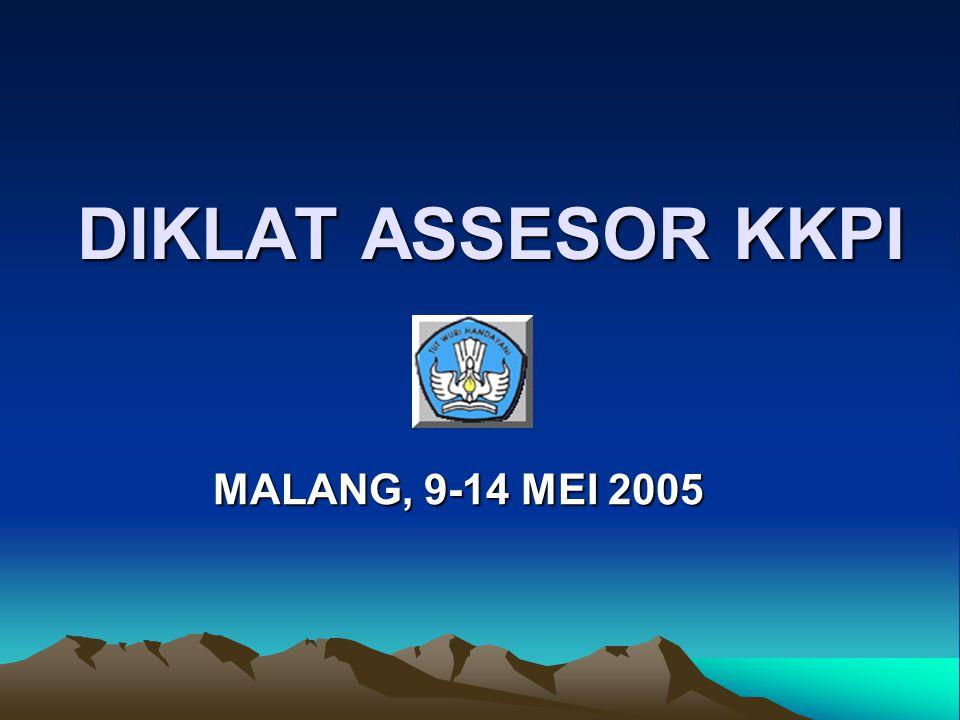 DIKLAT ASSESOR KKPI MALANG, 9-14 MEI 2005