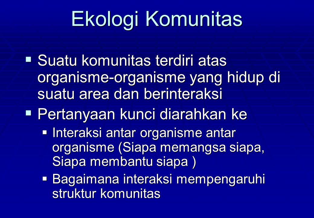 Ekologi Komunitas  Suatu komunitas terdiri atas organisme-organisme yang hidup di suatu area dan berinteraksi  Pertanyaan kunci diarahkan ke  Inter