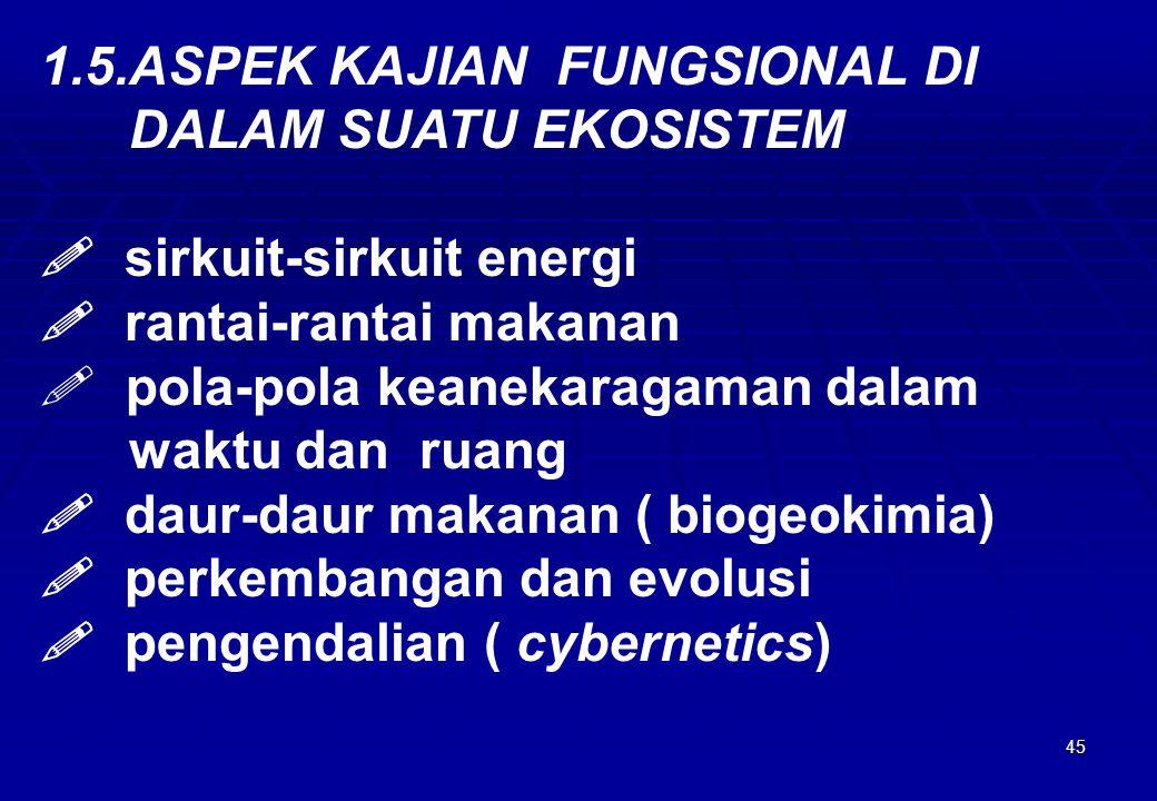 45 1.5.ASPEK KAJIAN FUNGSIONAL DI DALAM SUATU EKOSISTEM  sirkuit-sirkuit energi  rantai-rantai makanan  pola-pola keanekaragaman dalam waktu dan ru