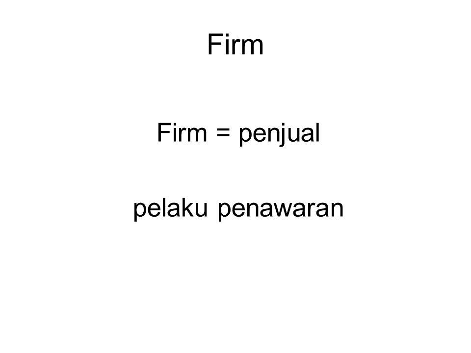 Firm Firm = penjual pelaku penawaran