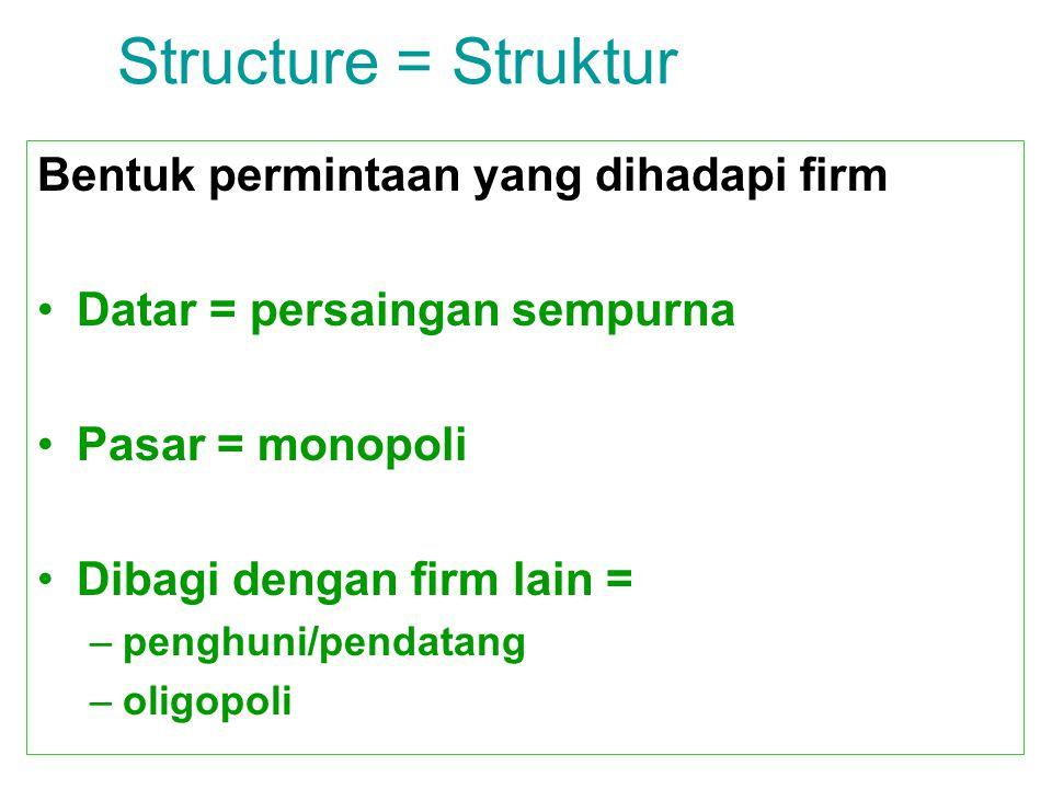 Structure = Struktur Bentuk permintaan yang dihadapi firm Datar = persaingan sempurna Pasar = monopoli Dibagi dengan firm lain = –penghuni/pendatang –