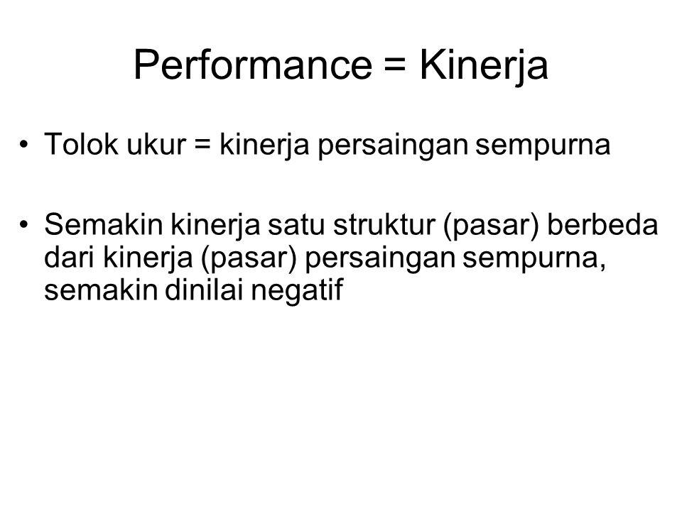 Performance = Kinerja Tolok ukur = kinerja persaingan sempurna Semakin kinerja satu struktur (pasar) berbeda dari kinerja (pasar) persaingan sempurna,