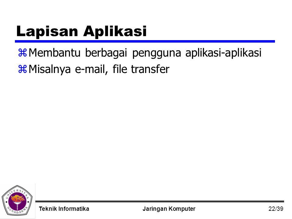 22/39 Jaringan KomputerTeknik Informatika Lapisan Aplikasi zMembantu berbagai pengguna aplikasi-aplikasi zMisalnya e-mail, file transfer