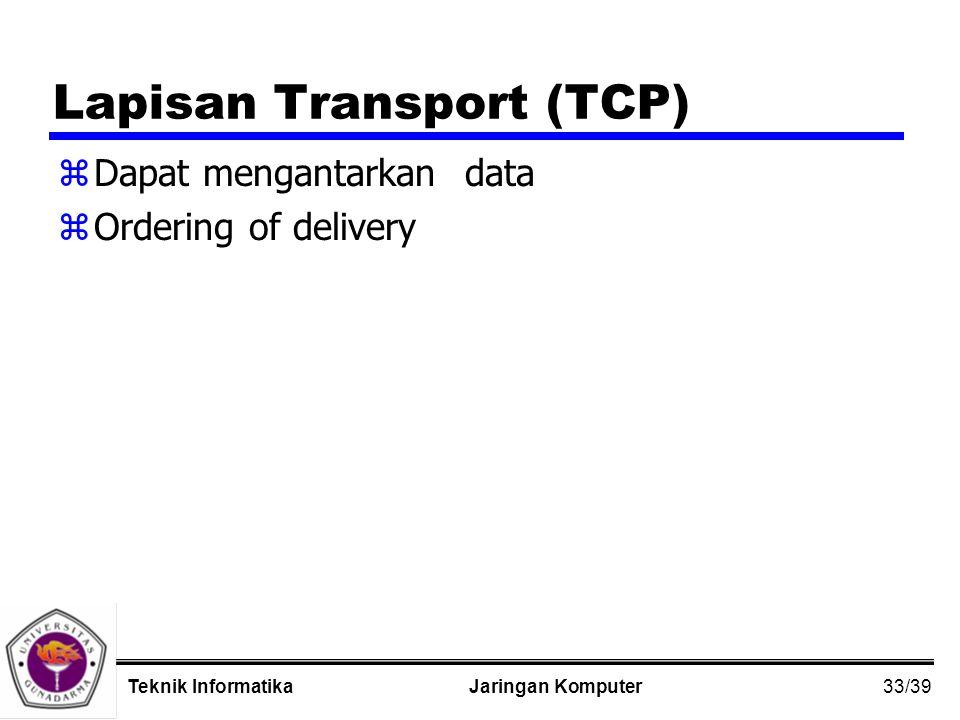33/39 Jaringan KomputerTeknik Informatika Lapisan Transport (TCP) zDapat mengantarkan data zOrdering of delivery