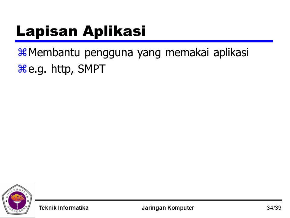 34/39 Jaringan KomputerTeknik Informatika Lapisan Aplikasi zMembantu pengguna yang memakai aplikasi ze.g.