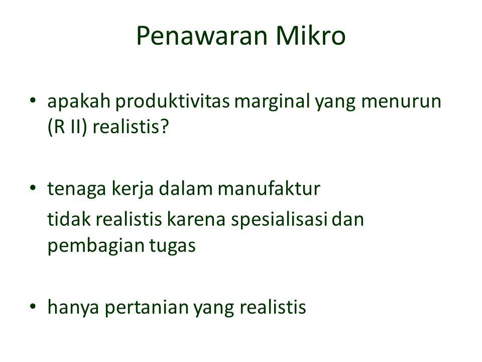 Penawaran Mikro apakah produktivitas marginal yang menurun (R II) realistis? tenaga kerja dalam manufaktur tidak realistis karena spesialisasi dan pem
