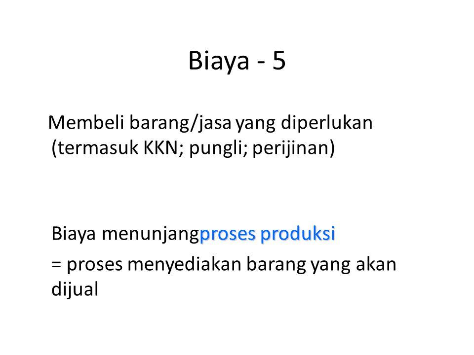 Biaya - 5 Membeli barang/jasa yang diperlukan (termasuk KKN; pungli; perijinan) proses produksi Biaya menunjangproses produksi = proses menyediakan ba