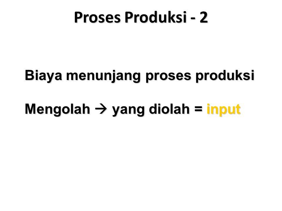 Proses Produksi - 2 Biaya menunjang proses produksi Mengolah  yang diolah = input