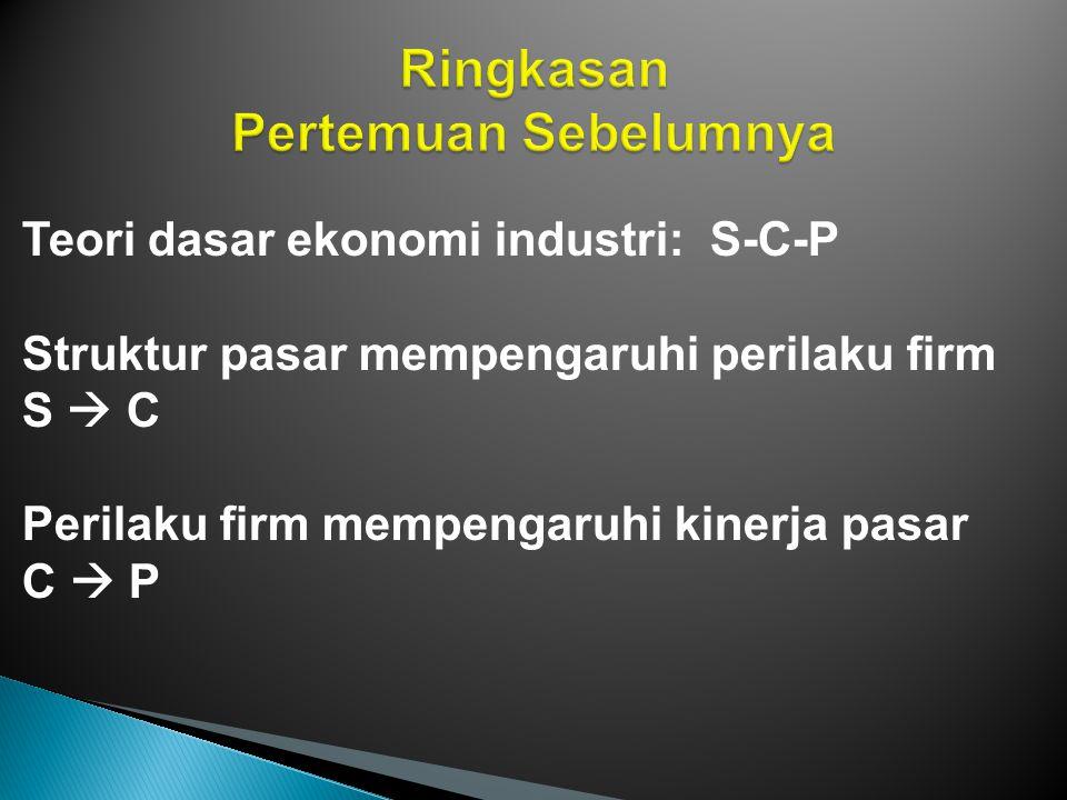 Teori dasar ekonomi industri: S-C-P - Struktur pasar = bentuk permintaan yg dihadapi firm - Perilaku firm = maksimum laba q : MR = MC Tindakan strategi - Kinerja pasar = 6 unsur