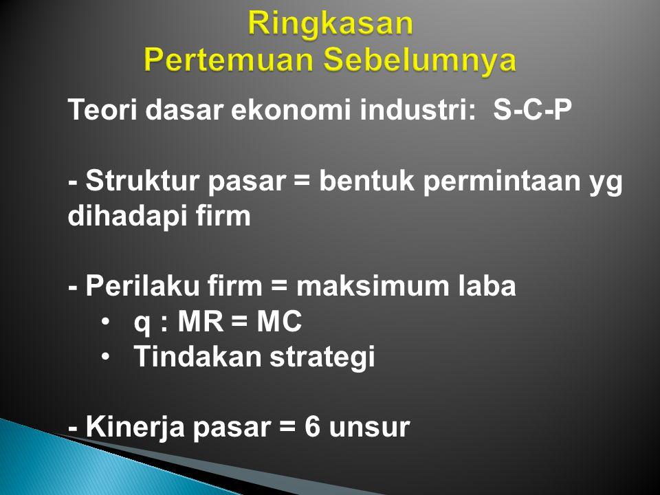 Keinginan dan kesanggupan membeli Unsur-unsur teori mikro ditampung dalam ekonomi industri Ekonomi industri tidak bertentangan dengan mikro Ekonomi industri memandang hal yang sama dari sudut pandang lain