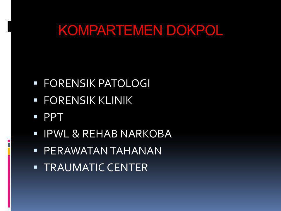  BIDDOKPOL PUSDOKKES POLRI  LABORATORIUM DNA FORENSIK  L.K.O.K. (ODONT. FORENSIK)  SEKRETARIAT DVI  PUSAT DATABASE DOKPOL (DEVINA)  KOMPARTEMEN