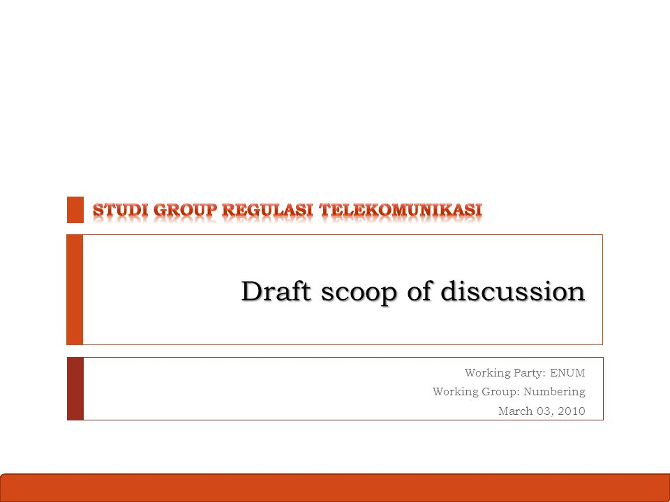 Study Group Contribution Working Party ENUM 2