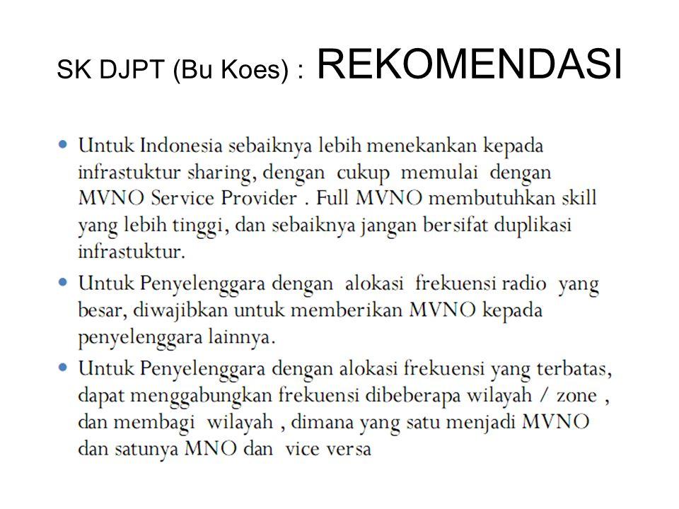 SK DJPT (Bu Koes) : REKOMENDASI
