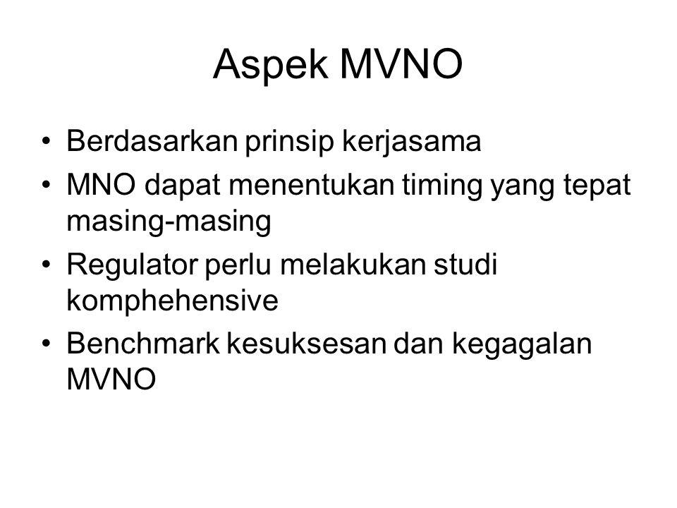 Aspek MVNO Berdasarkan prinsip kerjasama MNO dapat menentukan timing yang tepat masing-masing Regulator perlu melakukan studi komphehensive Benchmark kesuksesan dan kegagalan MVNO
