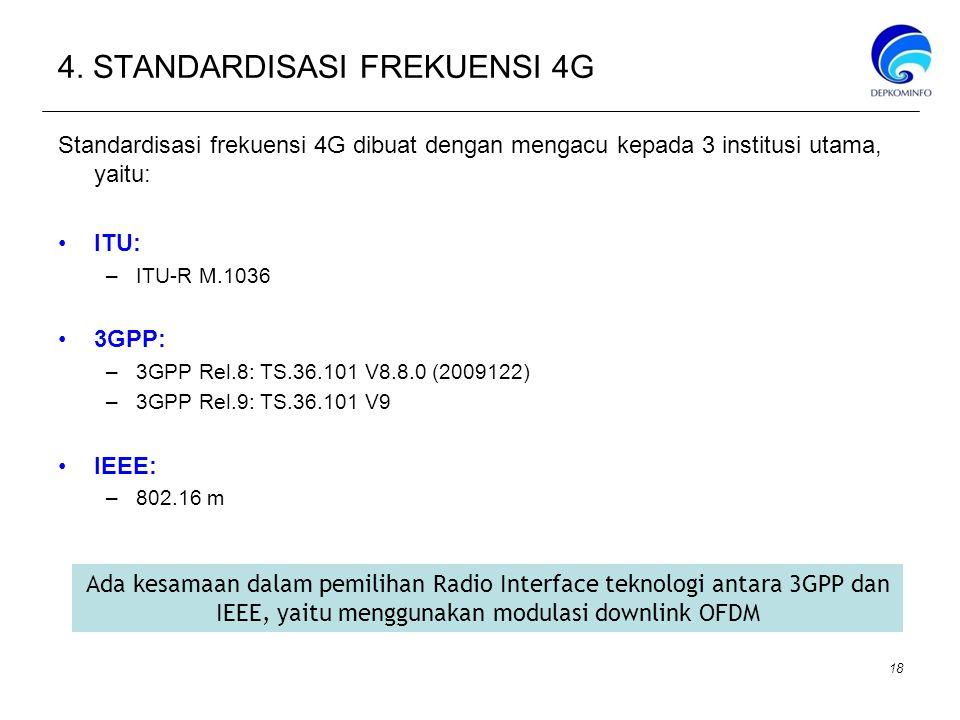 4. STANDARDISASI FREKUENSI 4G Standardisasi frekuensi 4G dibuat dengan mengacu kepada 3 institusi utama, yaitu: ITU: –ITU-R M.1036 3GPP: –3GPP Rel.8:
