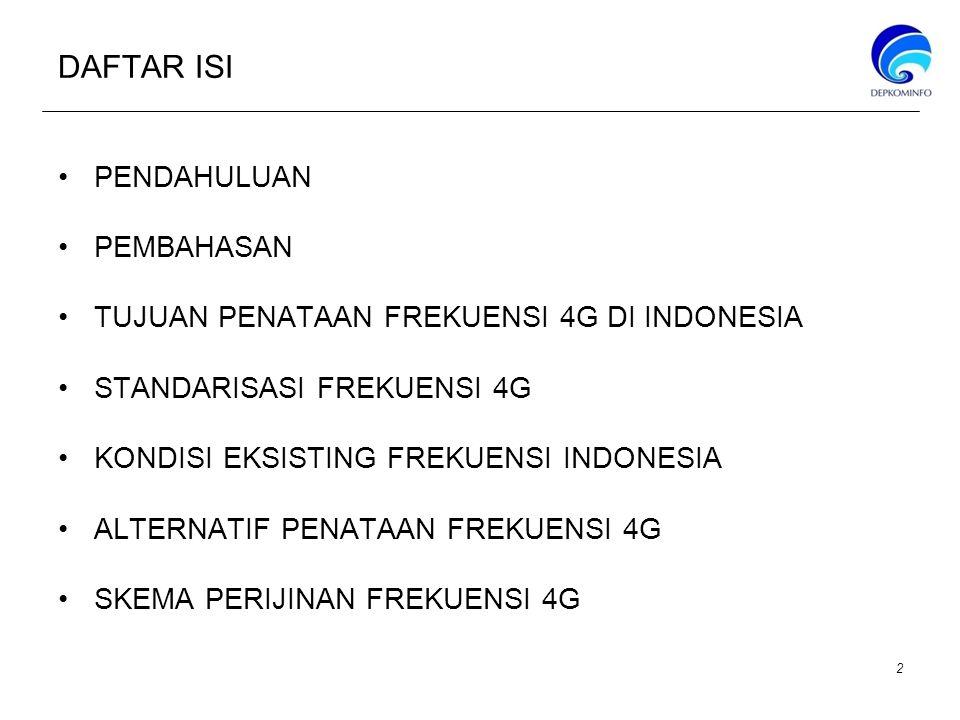 DAFTAR ISI PENDAHULUAN PEMBAHASAN TUJUAN PENATAAN FREKUENSI 4G DI INDONESIA STANDARISASI FREKUENSI 4G KONDISI EKSISTING FREKUENSI INDONESIA ALTERNATIF PENATAAN FREKUENSI 4G SKEMA PERIJINAN FREKUENSI 4G 2