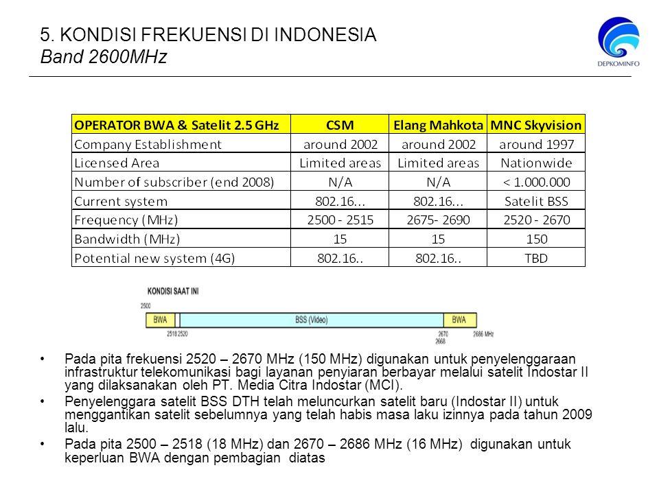 Pada pita frekuensi 2520 – 2670 MHz (150 MHz) digunakan untuk penyelenggaraan infrastruktur telekomunikasi bagi layanan penyiaran berbayar melalui satelit Indostar II yang dilaksanakan oleh PT.