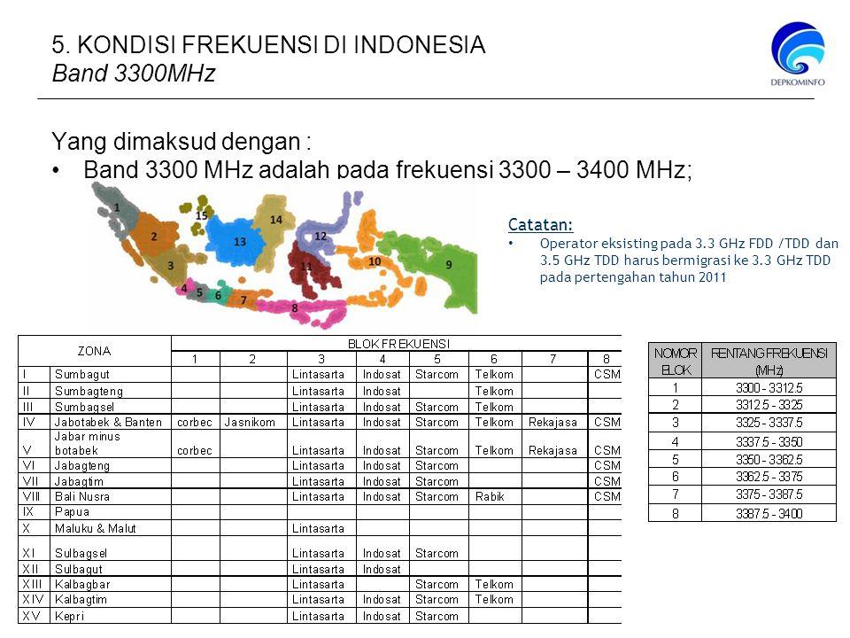 Yang dimaksud dengan : Band 3300 MHz adalah pada frekuensi 3300 – 3400 MHz; Catatan: Operator eksisting pada 3.3 GHz FDD /TDD dan 3.5 GHz TDD harus bermigrasi ke 3.3 GHz TDD pada pertengahan tahun 2011 5.