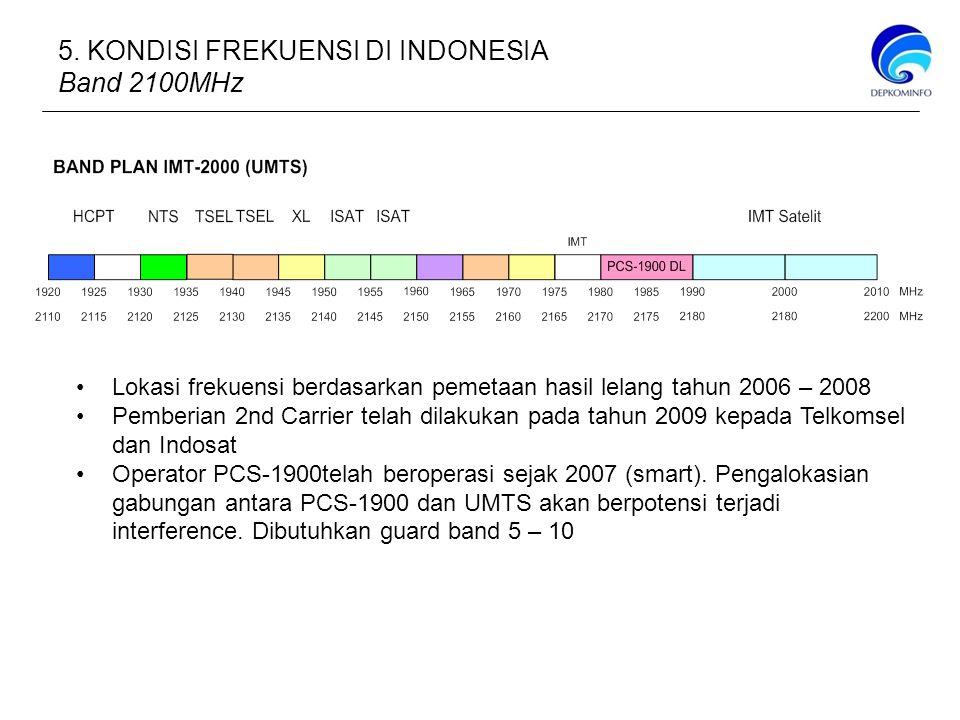 5. KONDISI FREKUENSI DI INDONESIA Band 2100MHz Lokasi frekuensi berdasarkan pemetaan hasil lelang tahun 2006 – 2008 Pemberian 2nd Carrier telah dilaku
