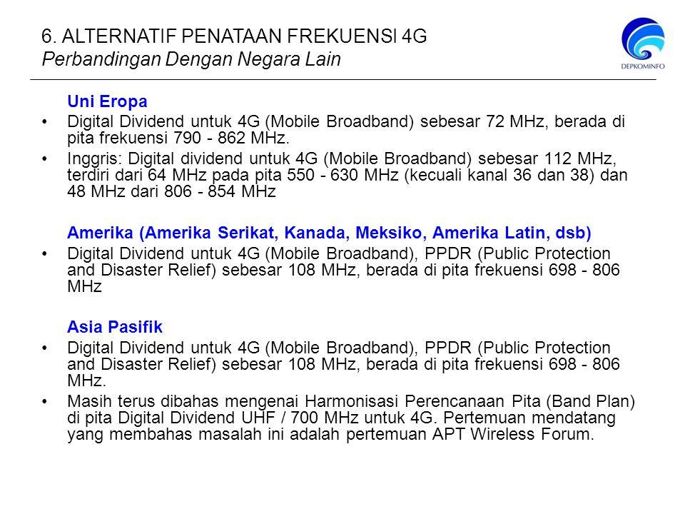 Uni Eropa Digital Dividend untuk 4G (Mobile Broadband) sebesar 72 MHz, berada di pita frekuensi 790 - 862 MHz.