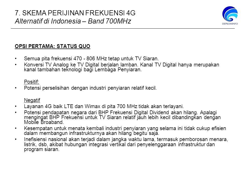 OPSI PERTAMA: STATUS QUO Semua pita frekuensi 470 - 806 MHz tetap untuk TV Siaran.