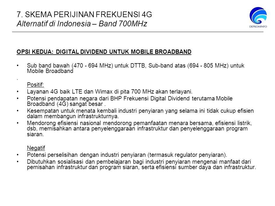 OPSI KEDUA: DIGITAL DIVIDEND UNTUK MOBILE BROADBAND Sub band bawah (470 - 694 MHz) untuk DTTB, Sub-band atas (694 - 805 MHz) untuk Mobile Broadband.