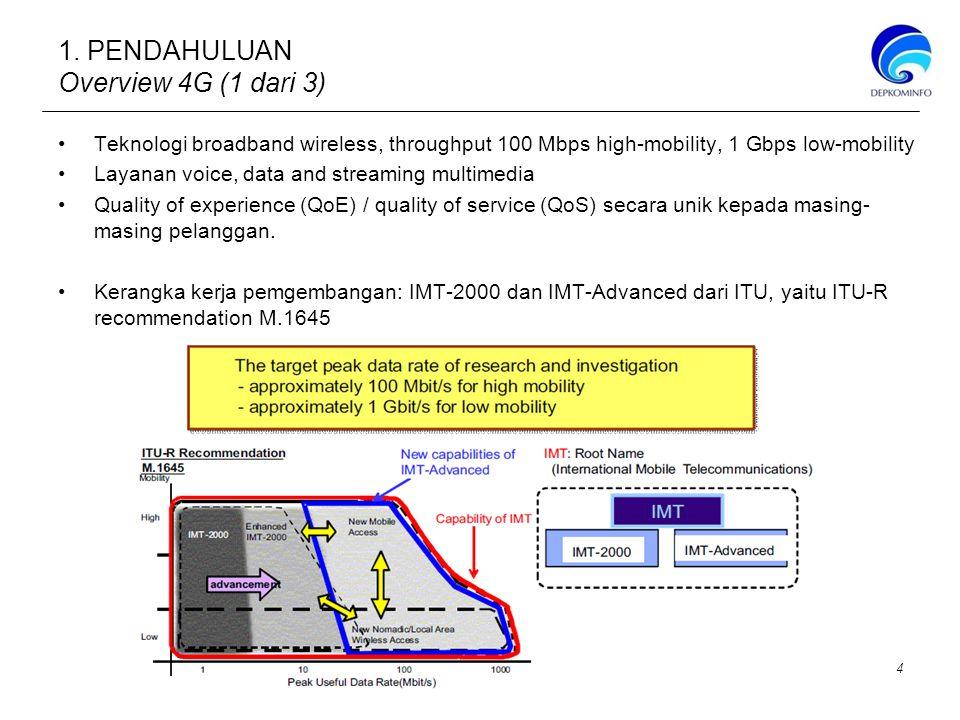 Band 900MHz Secara global Sub band 900 MHz masih belum digunakan untuk implementasi 4G baik LTE maupun WiMax Sub band 900 MHz termasuk dalam band frekuensi 3GPP Rel 8 dan Rel 9 Di Indonesia Sub band 900 MHz digunakan untuk sarana komunikasi bergerak selular berbasis GSM 900 sebesar 25 Mhz dan 10 MHz untuk CDMA Band 1800MHz Sub band 1800 MHz merupakan salah satu frekuensi yang menjadi alternatif implementasi LTE di beberapa negara Hongkong dan Finlandia Sub band 1800 MHz termasuk dalam band frekuensi 3GPP Rel 8 dan Rel 9 Di Indonesia Sub band 1800 MHz digunakan untuk sarana komunikasi bergerak selular berbasis GSM 1800 Band 2100MHz Sub band 2100 MHz merupakan salah satu frekuensi yang menjadi alternatif implementasi LTE di beberapa negara seperti China, Jepang dan Filipina Sub band 2100 MHz termasuk dalam band frekuensi pada 3GPP Rel 8 atau Rel 9 Di Indonesia sub band 2100 MHz saat ini untuk sarana komunikasi bergerak selular berbasis WCDMA 6.