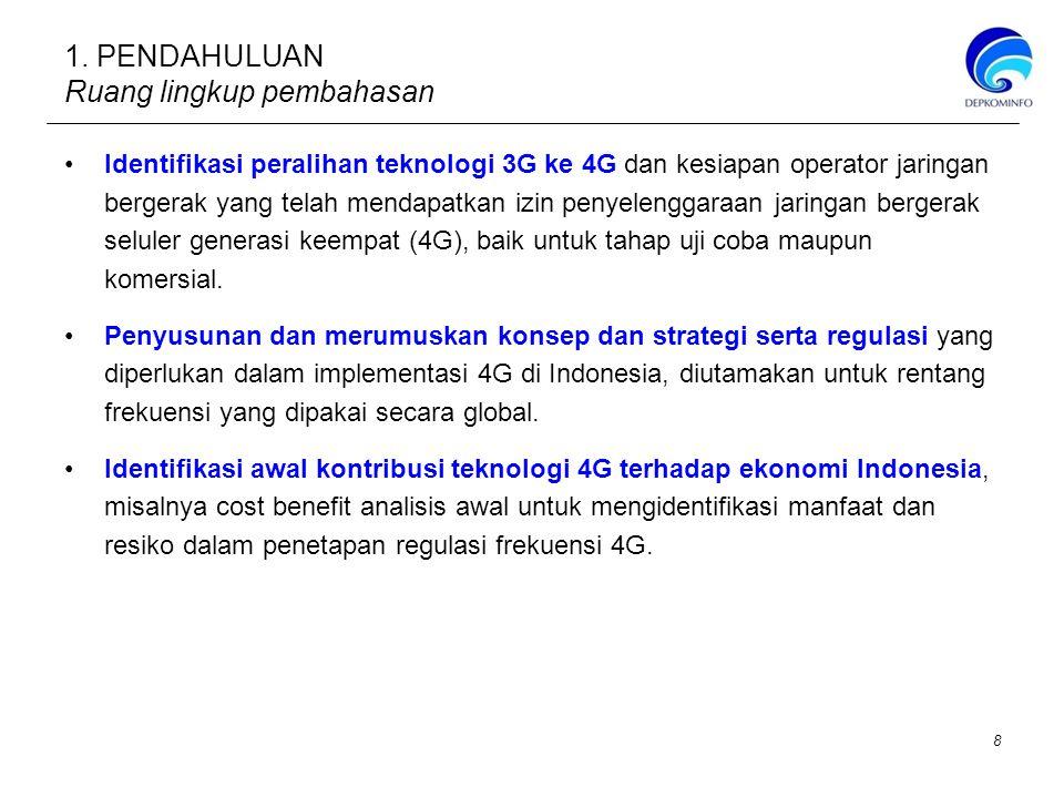 Berdasarkan Peraturan Menteri No.29 tahun 2009 mengenai Tabel Alokasi Spektrum Frekuensi Radio di Indonesia, yang mengacu kepada ITU Radio Regulation, edisi 2008 ALOKASI FREKUENSI (MHz)DINAS KOMUNIKASI RADIOCATATAN KAKI ITU RR CATATAN KAKI INDONESIA 470 - 585TETAP, BERGERAK, SIARAN5.291, 5.298INS 12 585 - 610TETAP, BERGERAK, SIARAN, RADIONAVIGASI5.149 5.305 5.306 5.307INS 12 610 - 806SIARAN, BERGERAK5.149 5.305 5.306 5.307 5.311 INS 12 806 - 890TETAP, BERGERAK5.149 5.305 5.306 5.307 5.311 INS 13, INS 14 890 - 960TETAP, BERGERAK5.317AINS 15 1710 - 1930TETAP, BERGERAK, OPERASI RUANG ANGKASA, PENELITIAN RUANG ANGKASA 5.380 5.384A 5.388A 5.388BINS 18, INS 19 INS 20 5.149 5.341 5.385 5.386 5.387 5.388 1930 - 1980TETAP, BERGERAK5.388A 5.388B 5.388INS 20 1980 - 2010TETAP, BERGERAK, BERGERAK SATELIT (Bumi ke angkasa) 5.351AINS 21 5.388 5.389A 5.389B 5.389F 2110 - 2120TETAP, BERGERAK, PENELITIAN RUANG ANGKASA (Bumi ke Angkasa) 5.388A 5.388BINS 20 5.388 2120 - 2170TETAP, BERGERAK5.388A 5.388BINS 20 5.388 2300 - 2450TETAP, BERGERAK, RADIOLOKASI, Amatir5.150 5.282 5.393 5.394 5.396 INS 23, INS 24 2500 - 2520TETAP, TETAP SATELIT, BERGERAK kecuali bergerak penerbangan, BERGERAK SATELIT (angkasa ke Bumi) 5.409 5.411, 5.415, 5.384A 5.351A 5.403 INS 25 5.403 5.404 5.407 5.414 5.