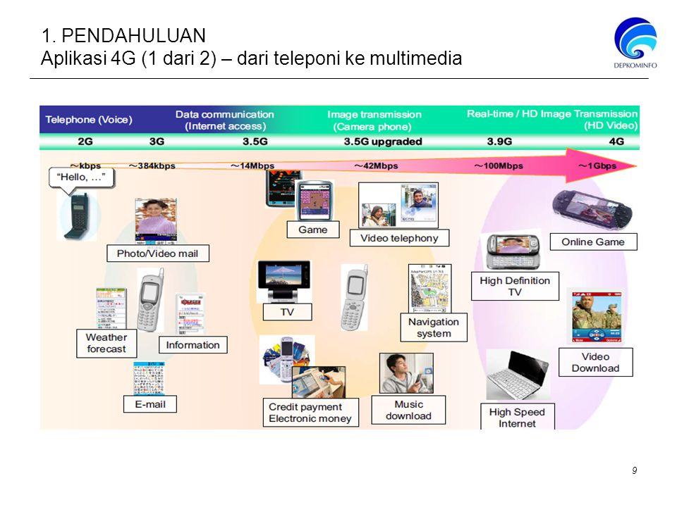 1. PENDAHULUAN Aplikasi 4G (1 dari 2) – dari teleponi ke multimedia 9