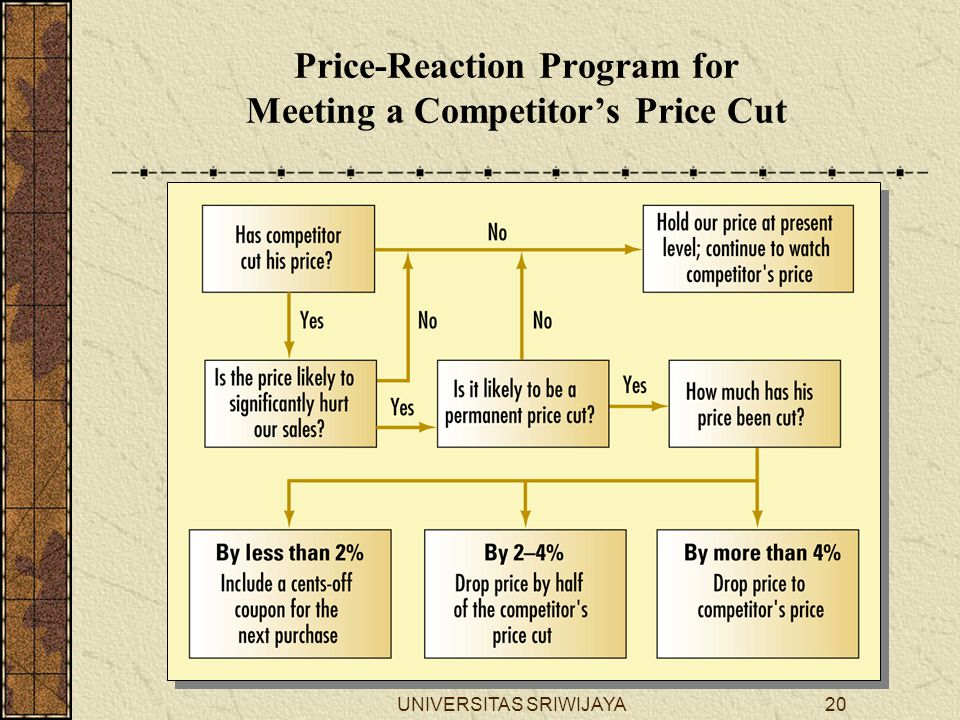 UNIVERSITAS SRIWIJAYA20 Price-Reaction Program for Meeting a Competitor's Price Cut