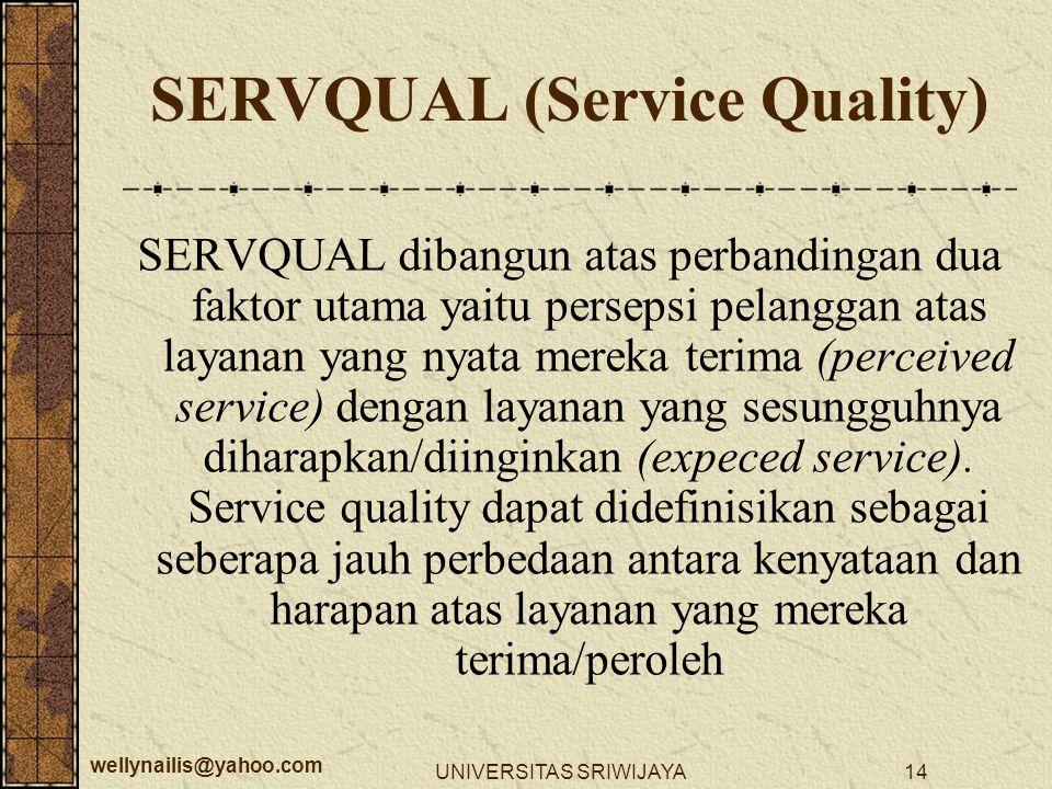 wellynailis@yahoo.com UNIVERSITAS SRIWIJAYA14 SERVQUAL dibangun atas perbandingan dua faktor utama yaitu persepsi pelanggan atas layanan yang nyata me