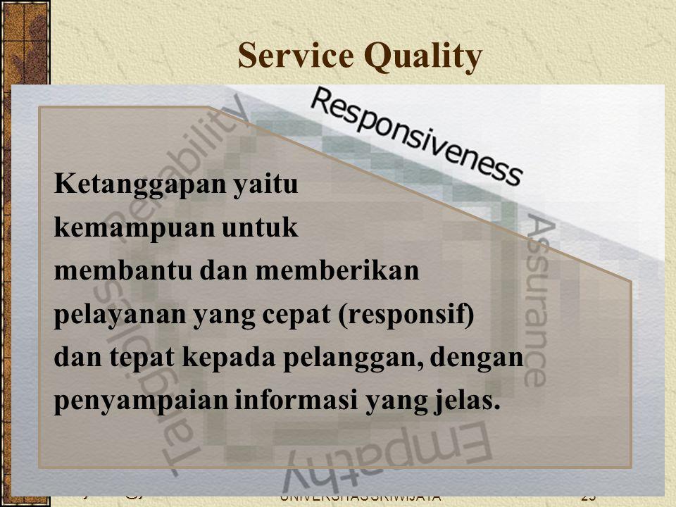 wellynailis@yahoo.com UNIVERSITAS SRIWIJAYA25 Ketanggapan yaitu kemampuan untuk membantu dan memberikan pelayanan yang cepat (responsif) dan tepat kep