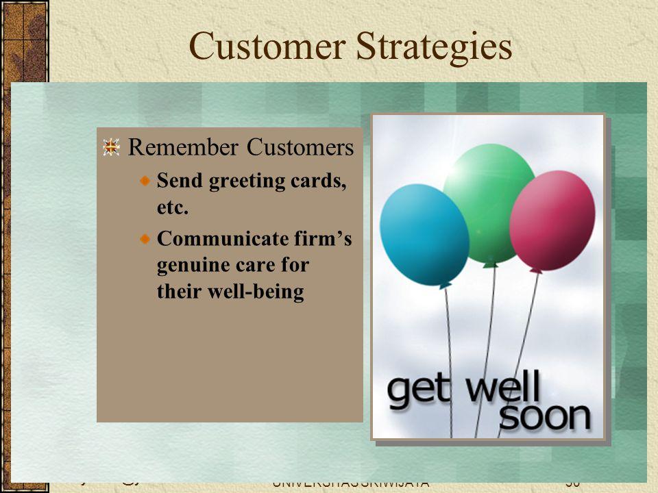 wellynailis@yahoo.com UNIVERSITAS SRIWIJAYA30 Customer Strategies Remember Customers Send greeting cards, etc. Communicate firm's genuine care for the