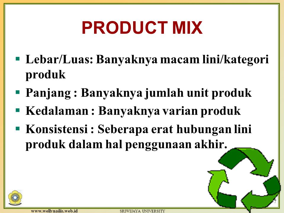 www.wellynailis.web.id SRIWIJAYA UNIVERSITY Product Failure Reasons for product elimination  Poor sales  Incompatibility with the organization's strategies  Poor market outlook