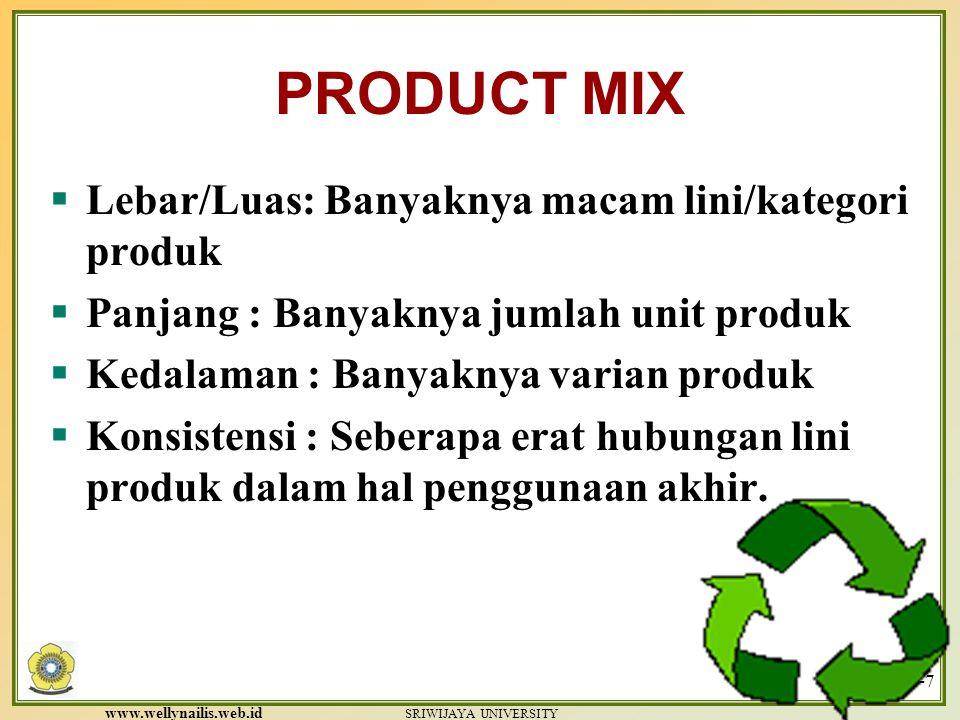 www.wellynailis.web.id SRIWIJAYA UNIVERSITY 11-7 PRODUCT MIX  Lebar/Luas: Banyaknya macam lini/kategori produk  Panjang : Banyaknya jumlah unit produk  Kedalaman : Banyaknya varian produk  Konsistensi : Seberapa erat hubungan lini produk dalam hal penggunaan akhir.