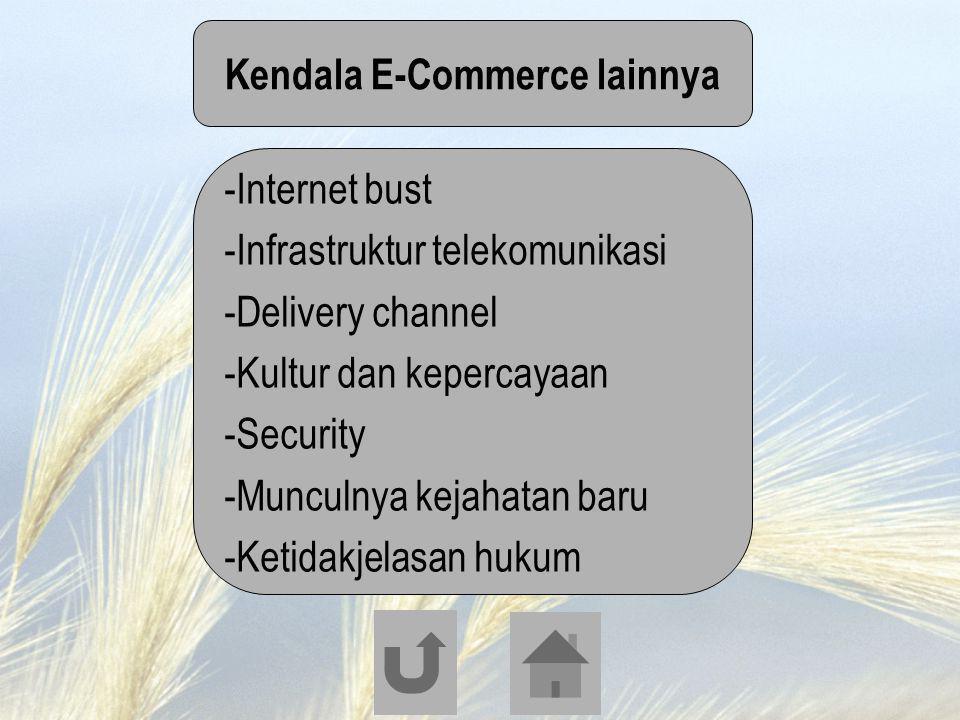 Kendala E-Commerce lainnya -Internet bust -Infrastruktur telekomunikasi -Delivery channel -Kultur dan kepercayaan -Security -Munculnya kejahatan baru