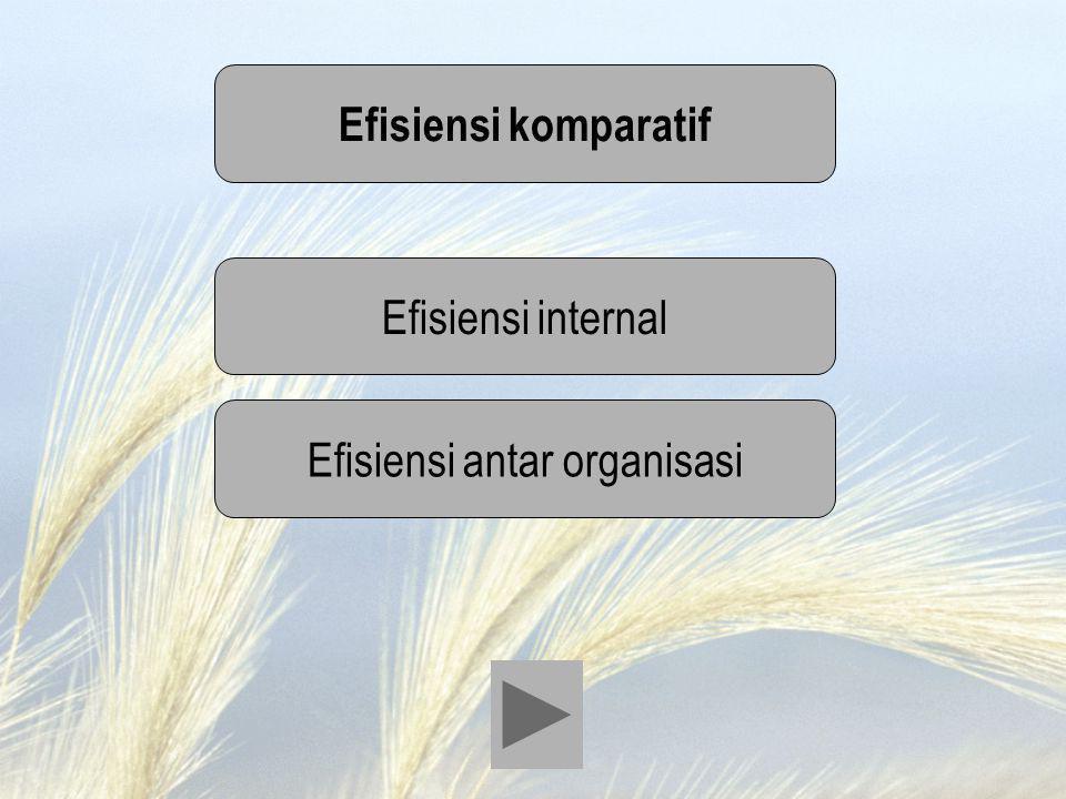 Efisiensi komparatif Efisiensi internal Efisiensi antar organisasi