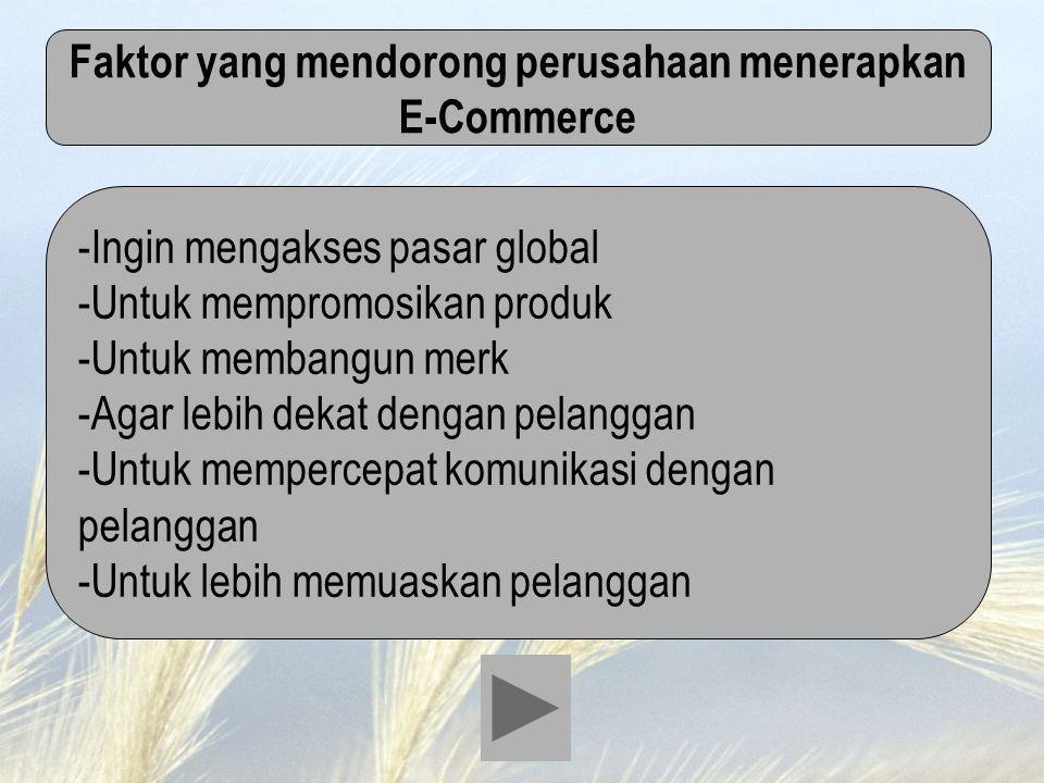 Faktor yang mendorong perusahaan menerapkan E-Commerce -Ingin mengakses pasar global -Untuk mempromosikan produk -Untuk membangun merk -Agar lebih dek
