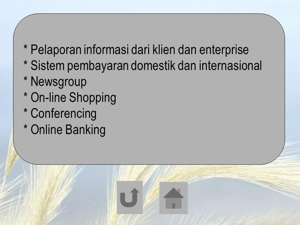 * Pelaporan informasi dari klien dan enterprise * Sistem pembayaran domestik dan internasional * Newsgroup * On-line Shopping * Conferencing * Online
